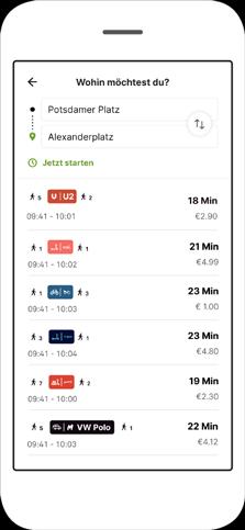 Screenshot Fahrtauskunft