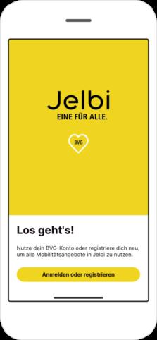 Screenshot des Login-Bereichs der Jelbi-App